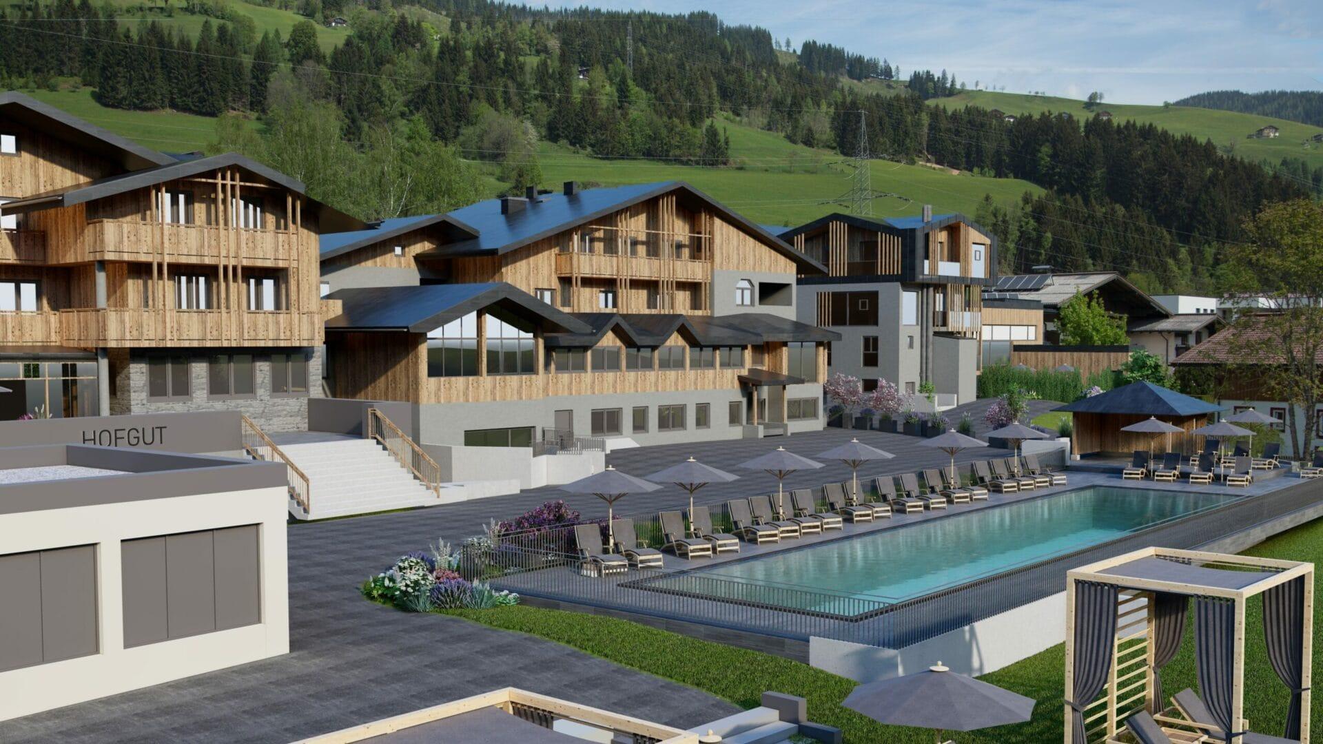 04.Hofgut-apartment-lifestyle-resort-wagrain-in-und-outdoorpools-sportbecken-blick-resort klein