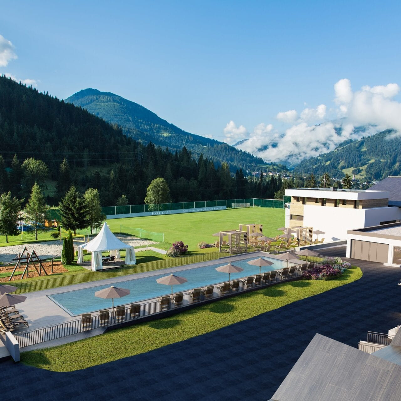 hofgut-apartment-lifestyle-resort-wagrain-erlebenimhofgut-außenanlage- poolblick-klein