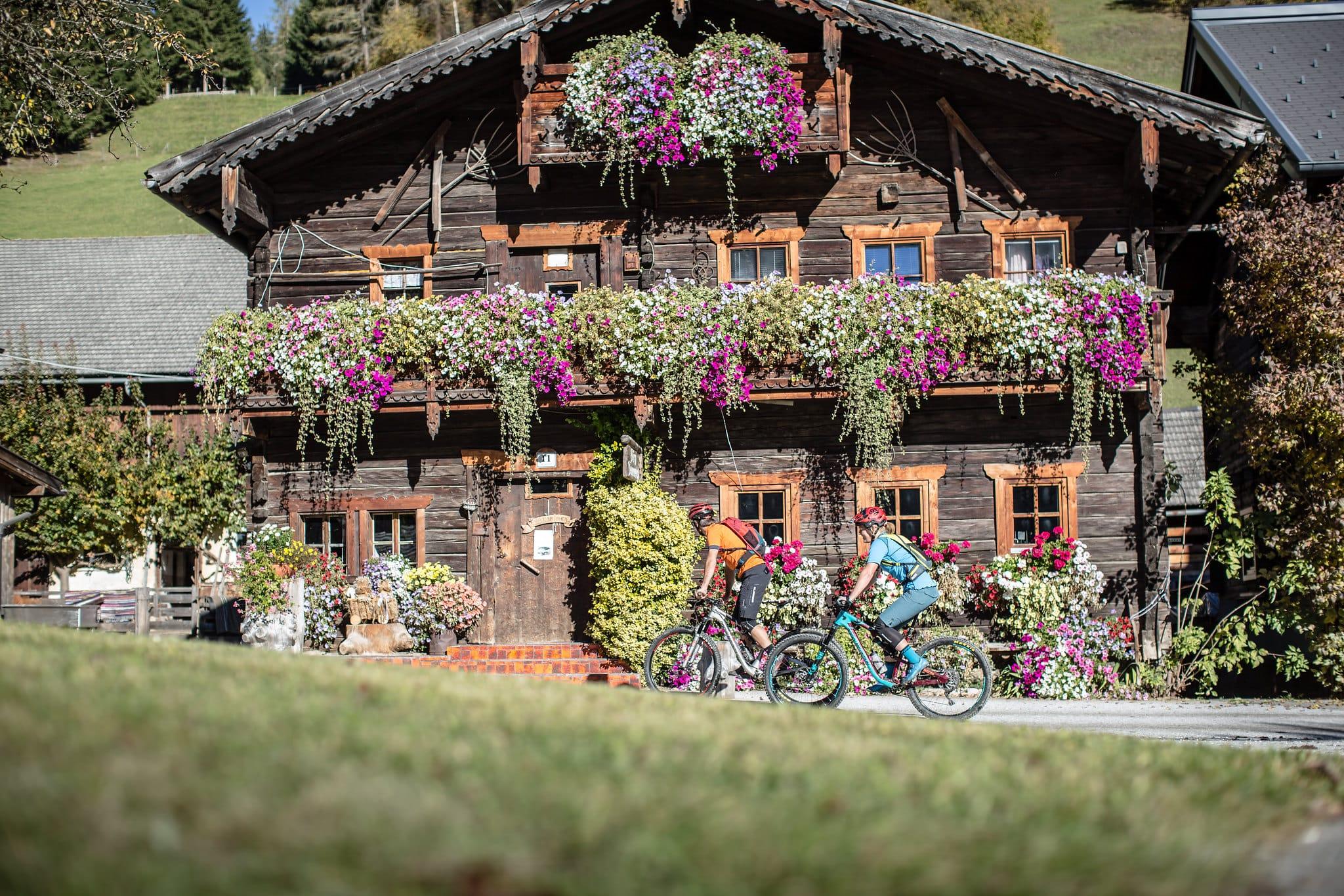 Hofgut-Wagrain-Apartment-Lifestyle-Resort-Freiheit-spueren-mit-Freunden-Bauernhaus-Blumen